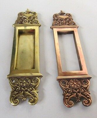 Fancy Set Antique Victorian Polished Brass/bronze French Pocket Door Plates # 12
