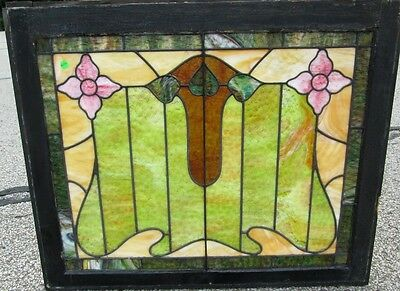 Rare Antique Arts & Crafts Stained Glass Window W/flowers & Leaves Estate # 299
