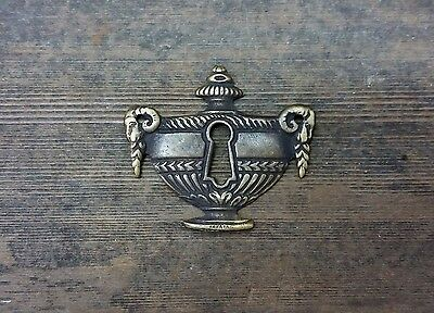 VTG Antique FANCY Rare RAM Heads Brass Keyhole Cover Backplate Desk Clock