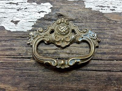 VTG Antique Old Brass FANCY Victorian Pull Handle Clock Cabinet Desk Jewlery .