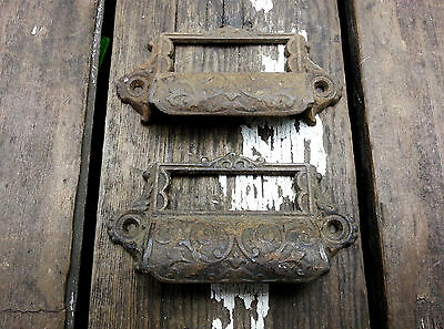 2 VTG Old Fancy Victorian Scroll CAST Iron Label BIN Pull Handle Apothecary