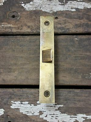 Vtg Old Heavy YALE Cast Brass Faceplate Closet Door Mortise Lock Hardware