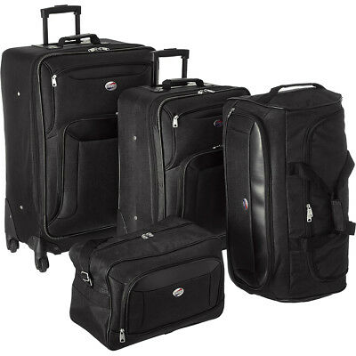 American Tourister Brookfield Black 4 Pc Luggage Set (2 Spinners, Bag, Duffle)