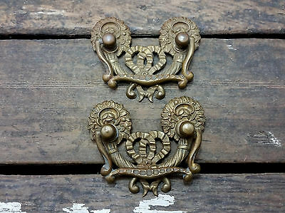 2 VTG Old FANCY Ornate Swag Ribbon Victorian ROSEBUD Pull Handle Drawer Dresser