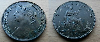 1891 VICTORIA Young Head FARTHING - nice grade coin