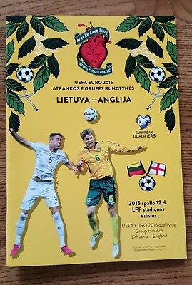 Lithuania v England European Qualifier 12.10.2015 mint condition programme