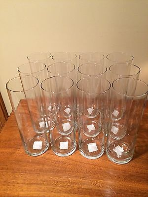 "Libbey Cylinder Clear Glass Vases, 9 3/4 "" High x 3 1/2 "" Diameter 'Set of 12'"