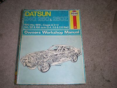Haynes Owners Manual Datsun 240 260 280Z Coupe 2+2 1970 1971 1972 1973 1974 1975