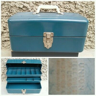 CASSETTA PESCA UNION STEEL CHEST CORP LEROY NY MADE USA METALLO VINTAGE anni 60