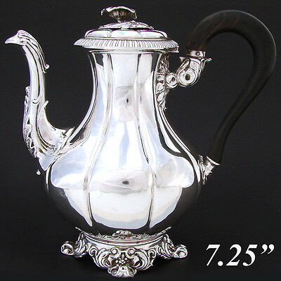 Antique French Louis Philippe Era Sterling Silver Solitaire Coffee or Tea Pot
