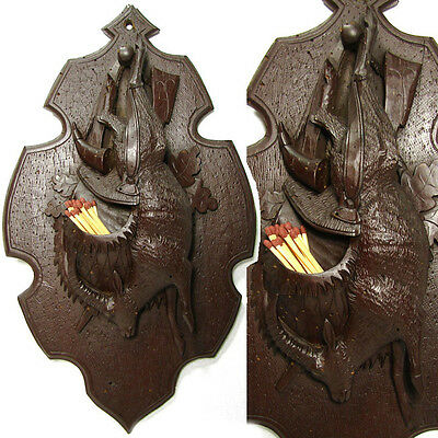 "Antique Black Forest Figural Carved Wood Hunt Theme Plaque, 13"" Match Holder"