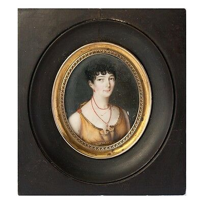 Napoleon Era French Antique Portrait Miniature, Beauty in Empire Gown, Red Coral