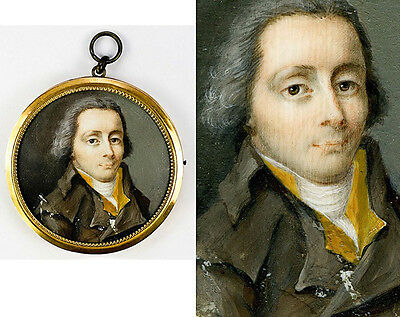 Fine Antique French Revolutionary Gentleman Portrait Miniature, Frame