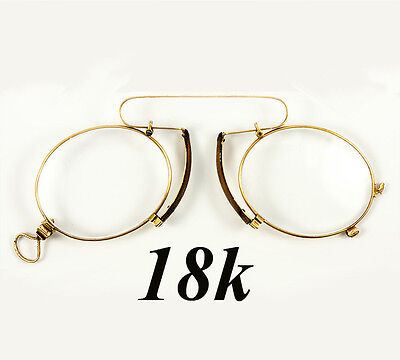 Antique 18k Gold, French Pince Nez Spectacles in Fine Condition, Gold Hallmarks