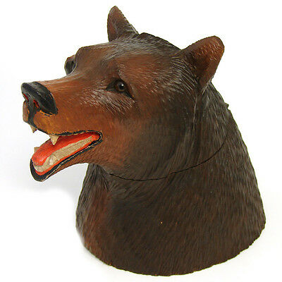"""Large Antique Black Forest Hand Carved Wood 6"""" Humidor, Inkwell, a Bear Figure"""