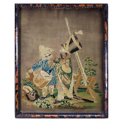 Antique Petitpoint Needlepoint Tapestry Sampler, Boys Playing Soldier Rare Frame