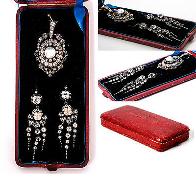 Antique French Jewelry Parure of Pendant & Chandelier Earrings, 18k Gold, Gems