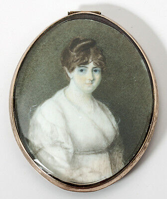 Antique Hand Painted Portrait Miniature, Young Georgian Era Bride in White Gown