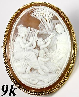 LG Antique Hand Carved Cameo, Psyche & Cupid, 9k Gold Mount, English Hallmarks