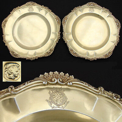 "Antique French Vermeil Sterling Silver 9"" Serving Dish PAIR, Ornate Rococo Style"