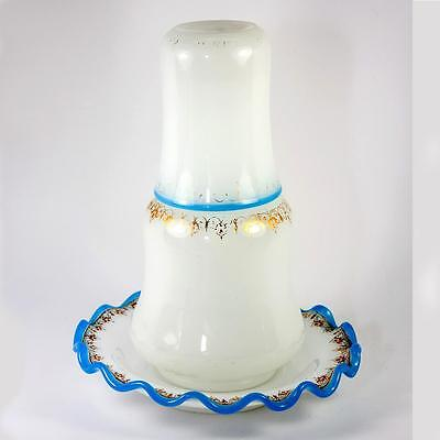 Antique French Opaline Glass Bonne Nuit, Night Water Decanter, Saucer & Cup