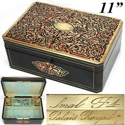 Palais Royal - Antique 1800s French Boulle Box, Chest, Baccarat Scent Bottles +