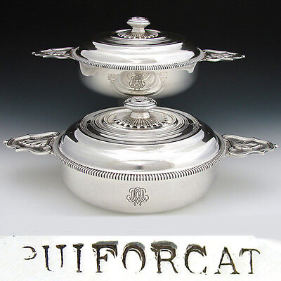 RARE Matched Pair of Antique French PUIFORCAT Sterling Silver Ecuelle, Tureens
