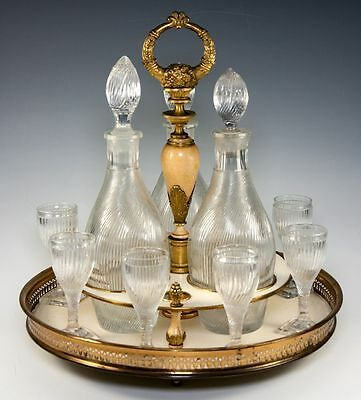 RARE Antique French Empire Liqueur Cabaret, Service w Baccarat Crystal Decanters
