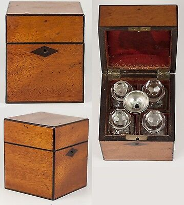 Antique French 1700s Scent Caddy, Box with FOUR Perfume Flasks, Sterling Funnel