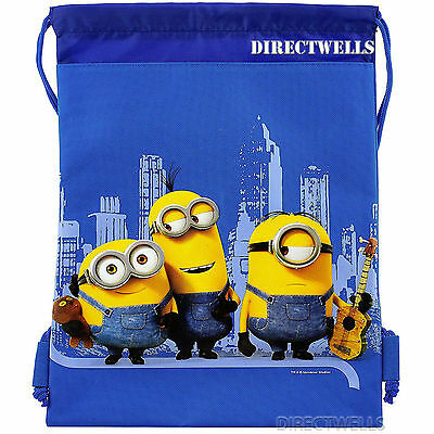 Despicable Me Minions Licensed Blue Drawstring Bag School Backpack