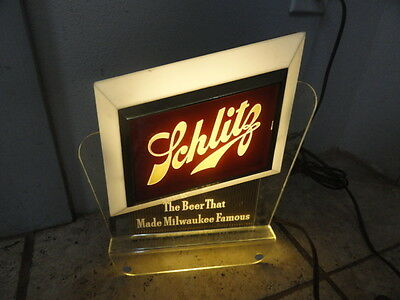 "Schlitz ""the Beer That Made Milwaukee Famous"" Back Bar Light Vintage 50's - 60's"