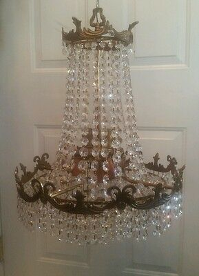 VINTAGE BEAUTIFUL 1920's CEILING CHANDELIER 6 SOCKET FLAPPER FRENCH STYLE
