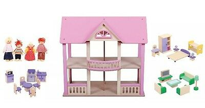 Brand New Wooden Dolls House Dollhouse with Furniture