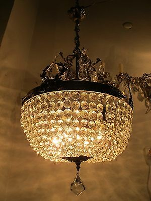Antique Vnt French HUGE Basket Style Crystal Chandelier Lamp 1940's 16in dmtr***