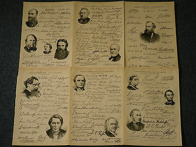 Historical Victorian Printed Signatures Autographs 1890's 6 Pages Signed Reprint