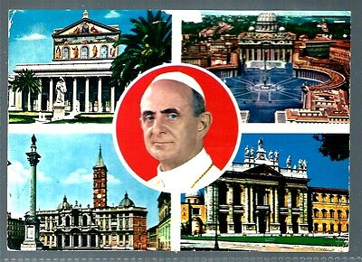 Vatican City postcard interesting postmarks Italy rome Pope buildings (P179)
