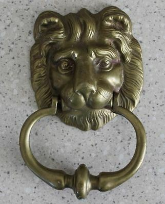 Vintage Cast  Solid Brass Lions Head Door Knocker