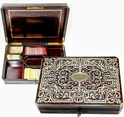 Superb Antique French Game Box, Faux Tortoise Shell Boulle, Complete with Chips