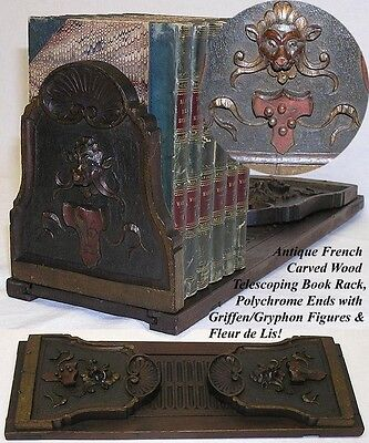 Antique French Black Forest Style Figural Carved Wood Book Rack