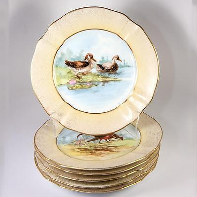 """Antique Hand Painted French M. Redon LIMOGES 6pc 8.75"""" Game Bird Plate Set, Gold"""