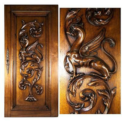 Hand Carved Antique Griffin Cabinet Door, Wall Plaque, Acanthus Neo-Gothic Panel