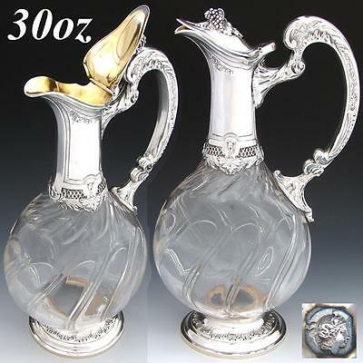 Elegant Antique French Sterling Silver & Cut Glass 30oz Claret Jug, Rococo Style