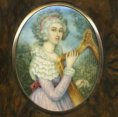 Antique French Portrait Miniature in Frame, Woman with a HARP, Outdoor View