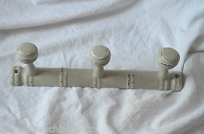 Vintage French  wooden coat rack, 3 pegs, grey patina