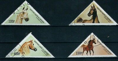 """Benin 4 Lovely Triangle Stamps """" Horses """" 1997 """" Mnh Cto"""