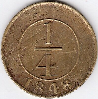 Dominican Republic / ¼ Real 1848, Brass