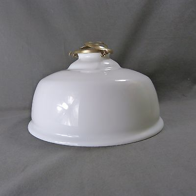 Vintage French Bell Shape Opaline Milk Glass Ceiling Shade, w/Hardware, Ø 23 cm
