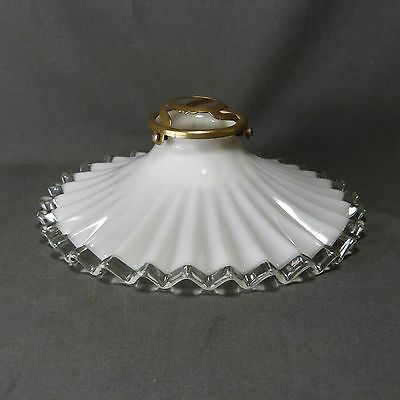 Vintage French Ruffled Opaline Milk Glass Ceiling Shade, w/Hardware, Ø 21.5 cm