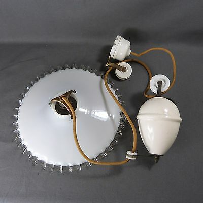French Antique Counterbalance White Porcelain Up and Down Light with Lampshade