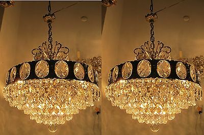 Pair of Antique Vnt French HUGE Basket Style Crystal Chandelier 1940s 22in dmetr